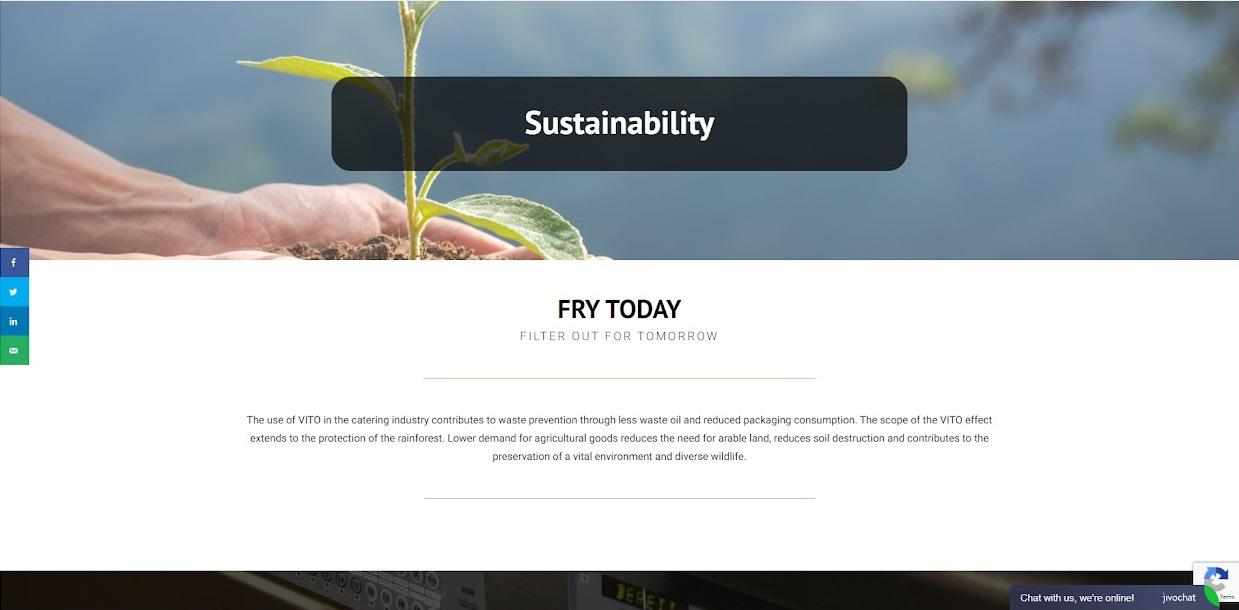Vito uk website sustainability screenshot