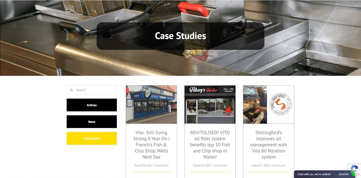 Vito uk website case studies screenshot