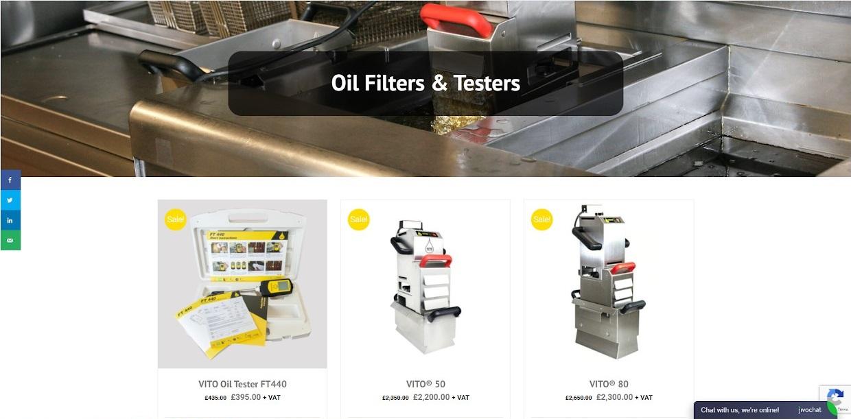 Vito uk website oil filters & testers screenshot